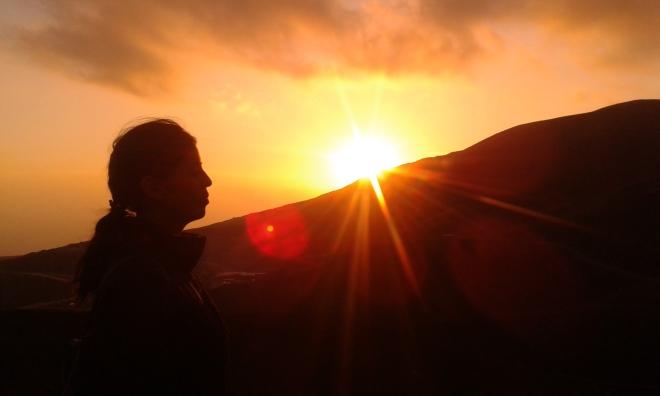 Etna, Laura al tramonto sull'Etna